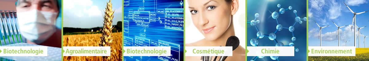 Secteurs représentés par l'AFSSI : biotechnologie, chimie, environnement, cosmétologie, agroalimentaire, bioinformatique