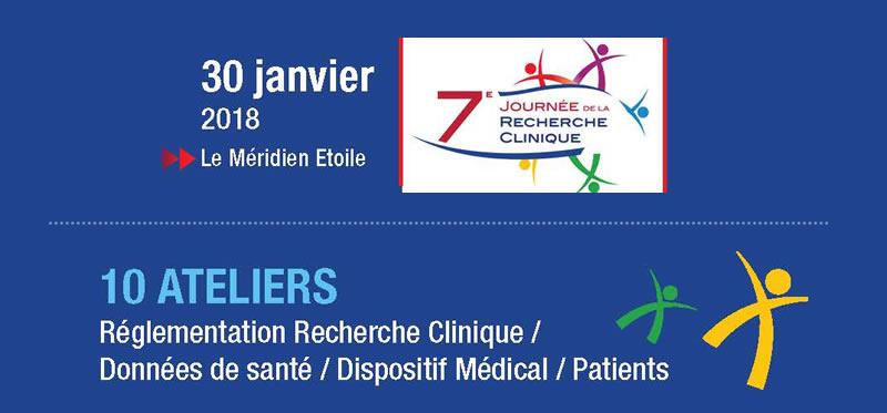 La 7ème Journée de la Recherche Clinique organisée, par l'AFCROs se tiendra le mardi 30 janvier 2018.